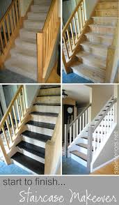 How To Refinish A Wood Banister Remodelaholic Carpet To Wood Stairs