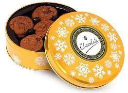 printed gold share tin belgian chocolate cookies christmas