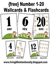 free printable number flashcards 1 20 free preschool printables numbers 1 20 wallcards flashcards
