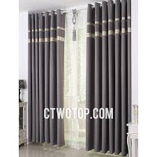 Blackout Curtains Gray Gray Simple Casual Blackout Affordable Linen Curtains With Gold Lace