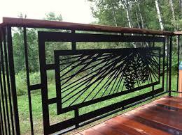modern pinecone railing for outdoor deck patio or tub area
