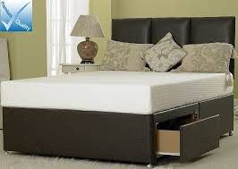 Divan Or Bed Frame 6in Divan Bed Base Only In Brown Faux Leather