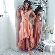 modern dress modern high low coral prom dresses 2017 v neck