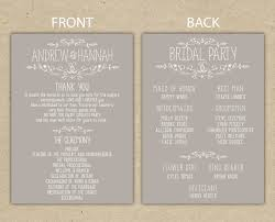 template for wedding program wedding program wedding reception wedding thank you printable
