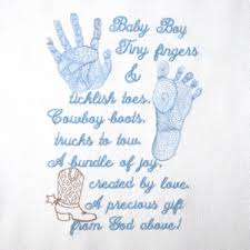 baby boy poems baby footprint handprint realistic boy poem embroidery design