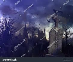 halloween night scene spooky graveyard stock illustration