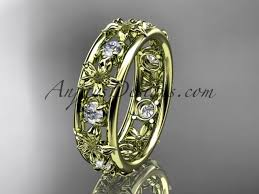leaf wedding band 14kt yellow gold diamond leaf wedding ring engagement ring wedding