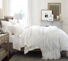 Organic Cotton Pintuck Duvet Cover Shams Awesome Hadley Ruched Duvet Cover Sham Pottery Barn Inside White