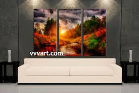Living Room Paintings 3 Piece Orange Canvas Nature Scenery Oil Paintings Wall Art