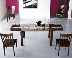 Modern Wood Dining Room Tables Beautiful Table Wood Body And Top Glass Extendable Perfect For