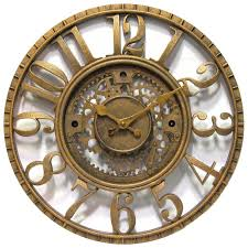 gears wall clock time open dial gold finish office home decor