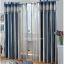Gray Blue Curtains Designs Blue Striped Blackout Lounge Curtains Ideas For Living Room