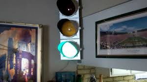 a traffic light stop light light with vintage parts