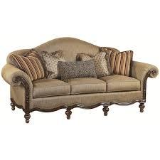 wood trim sofa thomasville ernest hemingway 462 pauline camel back sofa with