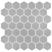 light grey hexagon tile boardwalk charcoal hex porcelain mosaic wall and floor tile 2 in