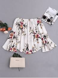floral blouse floral flare sleeve shoulder blouse white blouses s zaful