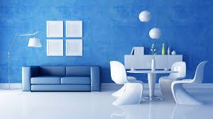Simple Wall Paintings For Living Room Blue Living Room With Simple Sofa And Wall Decor Combined With