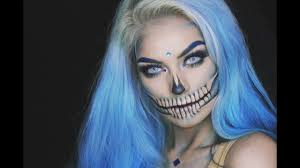 blue glam skull halloween makeup tutorial youtube