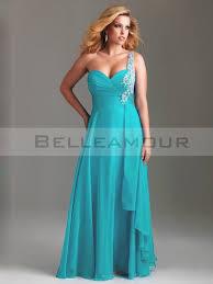 robe de soir e pour mariage pas cher de soirée grande taille bleu mousseline une epaule appliques
