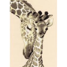 vervaco giraffe family counted cross stitch kit multi colour
