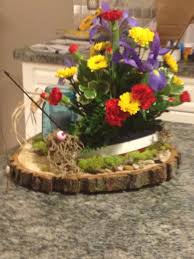 flower arrangement pictures with theme wood fishing boat with mini fishing pole fresh flowers in boat