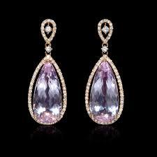 dangle diamond earrings 41ct diamond and pink amethyst 18k gold dangle earrings
