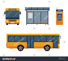 concept bus flat style concept public transport set stock vector 399748519