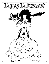 halloween coloring pages of pluto and scary cat coloring pages