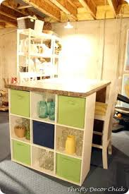 Over John Cabinet Square Storage Shelves Craft Table Using An Old Countertop And