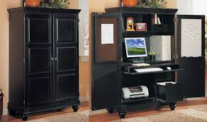 Black Storage Armoire Lovable Computer Cabinets For Home Office Apartments Charming Home