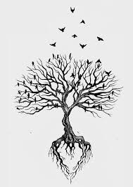 birds flying and tree without leaves design