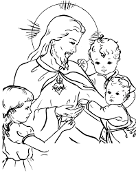children coloring pages jesus and the children sacred heart catholic coloring page