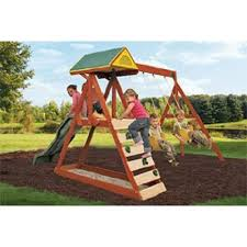 Backyard Swing Set Ideas Parkside Wood Swing Set The Space Saving Swing Set For Kids