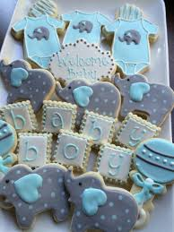 baby shower cookies decorated cookies baby boy elephant cookies