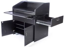 multimedia cart with locking cabinet multimedia classroom podium rolling black storage lectern