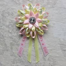 its a pin baby shower corsage pink green yellow baby shower