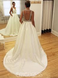 ericdress backless a line matte satin wedding dress 12791494