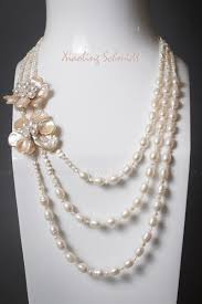 pearl flower necklace images Necklace 3 strand white freshwater pearls with keshi peach petal jpg