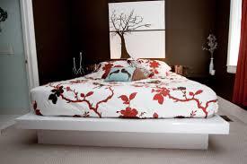 bedroom modern white painted solid wood japanese platform bed