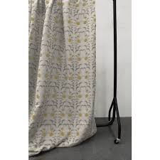 Natural Linen Curtain Fabric Dana Mustard Yellow Patterned Linen Mix Oeko Tex Fabric