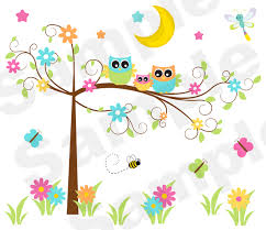 Fancy Owl Tree Wall Art Mural Baby Girl Nursery Kids Room Decor - Wall borders for kids rooms