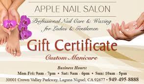 custom manicure gift certificate apple nail salon
