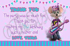 Birthday Invitation E Card Chuck E Cheese Thank You Card Birthday Party