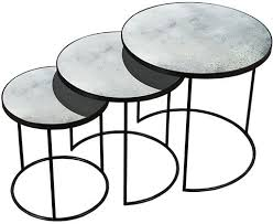 round nesting coffee table buy clear heavy aged mirror round nesting side table set of 3
