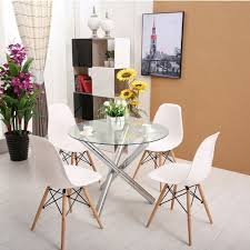 Modern White Dining Table by Glass Round Dining Table Set And 4 White Modern Chairs Ebay