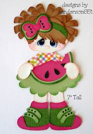 premade scrapbooks girl with watermelon paper piecing premade 4 borders scrapbooks