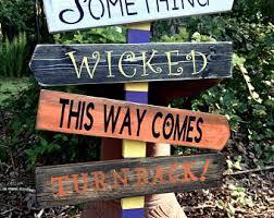 halloween directional sign arrows town outdoor indoor