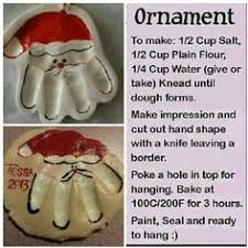 salt dough santa ornament recipe diy reindeer handprint