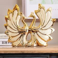 wedding gift ornaments europe luxury home decor living room gilded peacock wedding