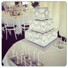 grey and white lace wedding cake